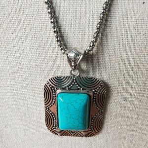 Faux turquoise and silver pendant and chain
